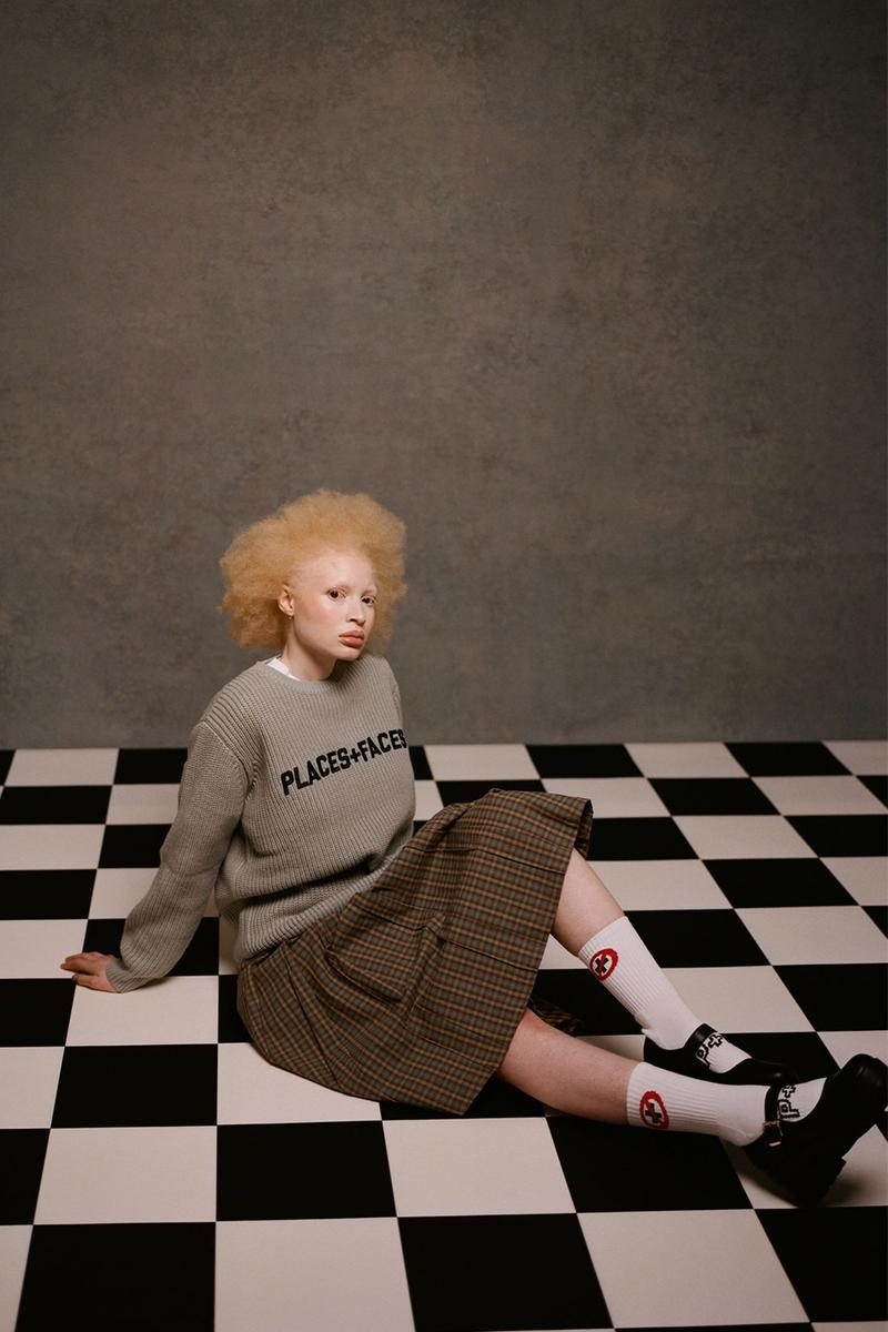 places plus faces 2021 first drop knitwear sweater logo skirt socks