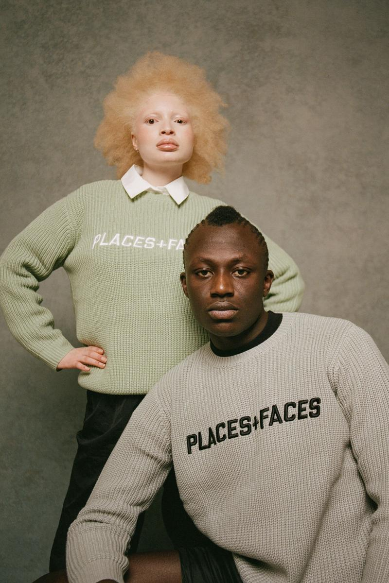 places plus faces 2021 first drop knitwear sweater logo mint shirt collar gray
