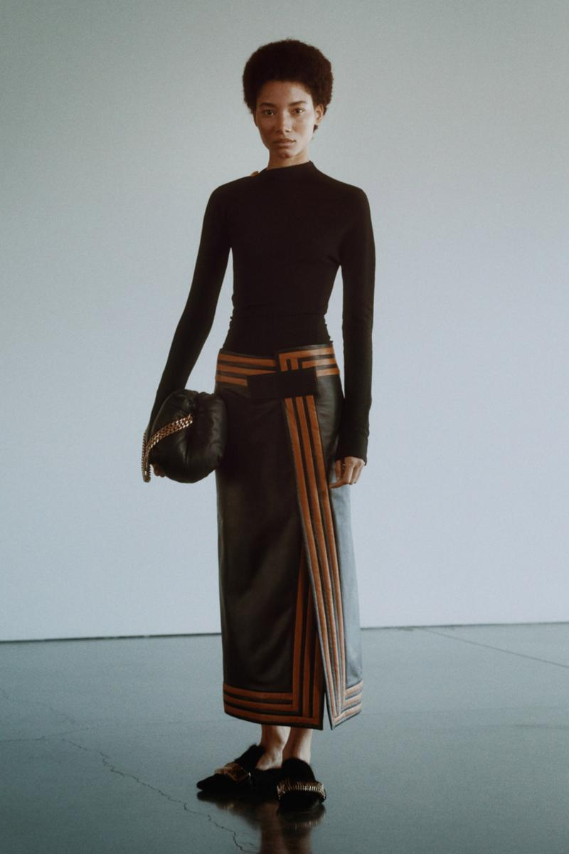 proenza schouler fall winter 2021 fw21 collection lookbook new york fashion week nyfw knit top leather skirt stripes