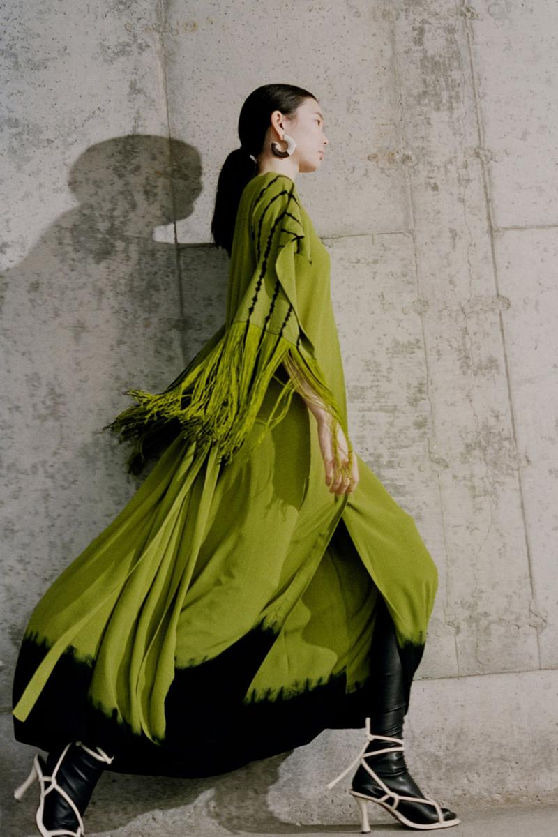proenza schouler fall winter 2021 fw21 collection lookbook new york fashion week nyfw green fringes dress