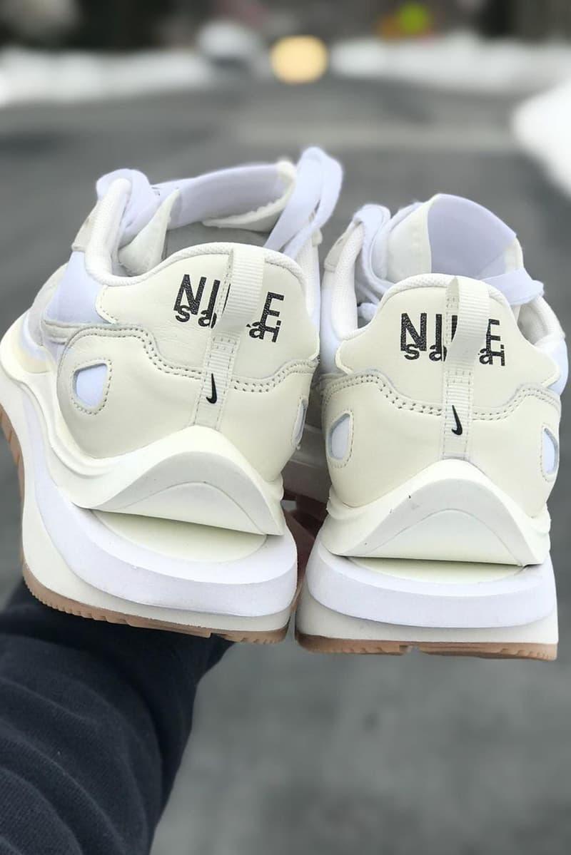 sacai nike vaporwaffle sail white gum collaboration details back heel tab logo