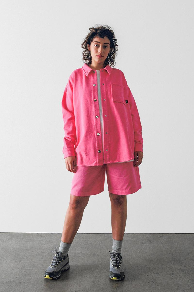 stussy spring 2021 collection lookbook womenswear pink jacket shirt shacket shorts