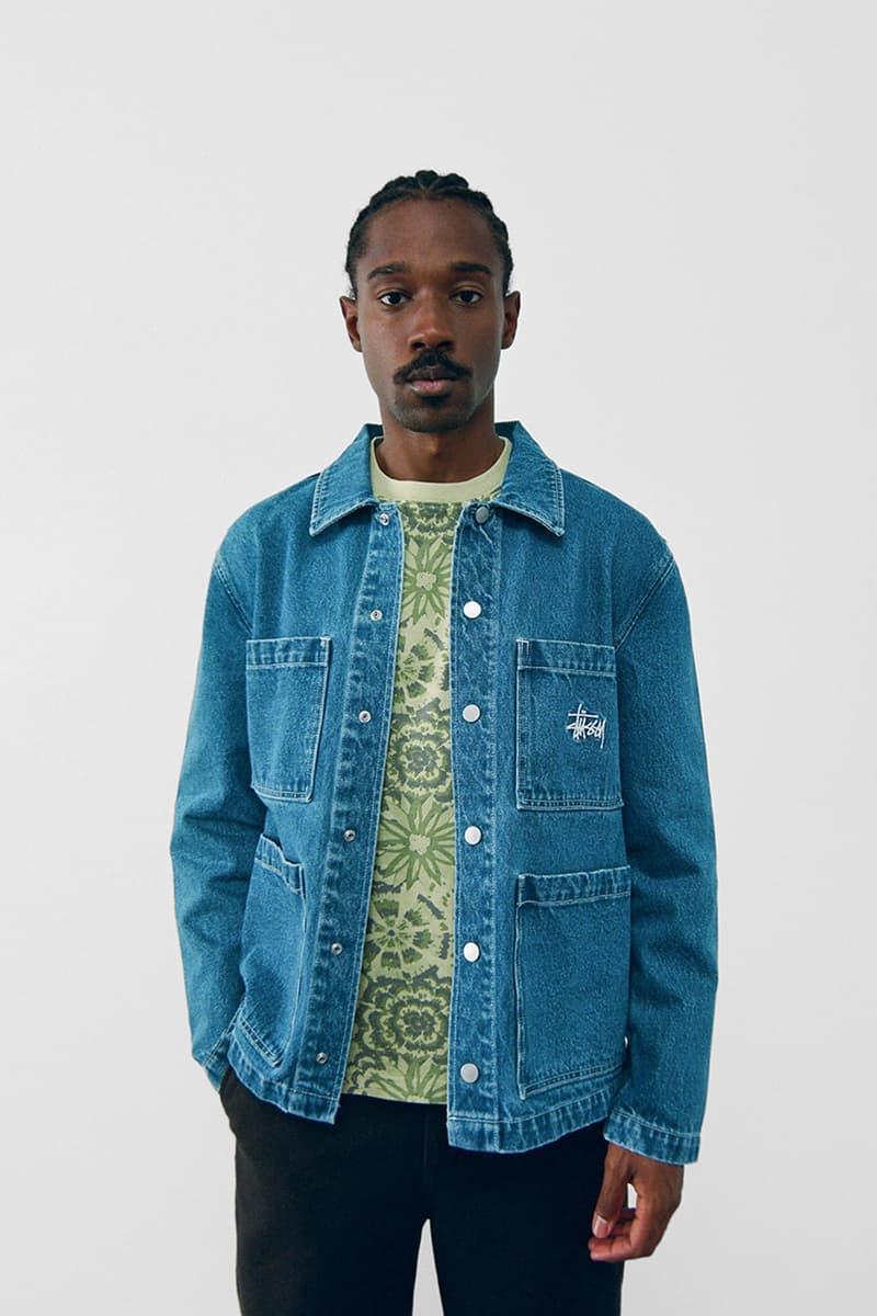 stussy spring 2021 collection lookbook womenswear denim jacket logo shirt sweater