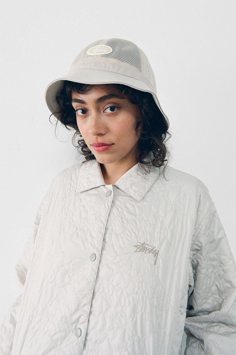 stussy spring 2021 collection lookbook womenswear white quilted jacket mesh bucket hat