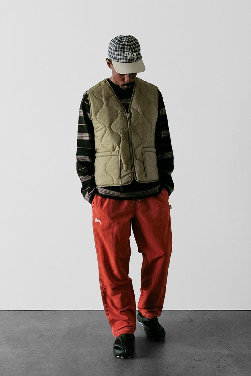 stussy spring 2021 collection lookbook womenswear vest trousers sweater cap