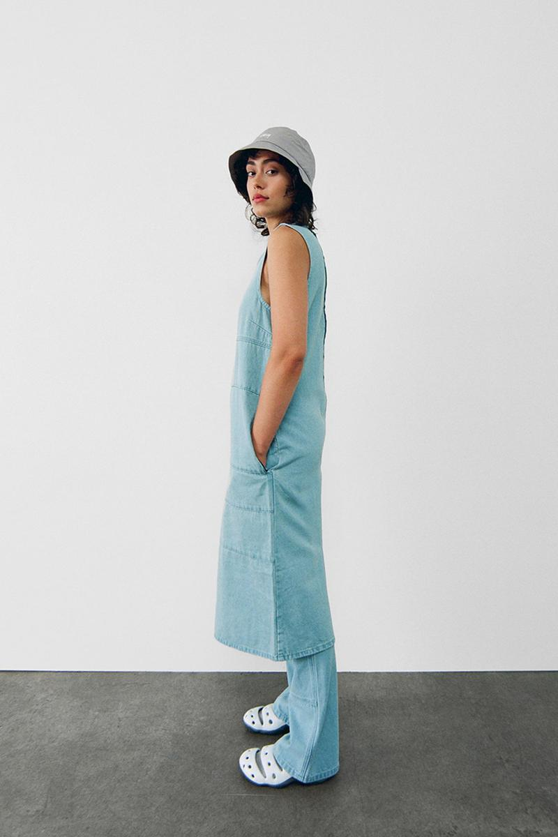 stussy spring 2021 collection lookbook womenswear denim long dress pants trousers