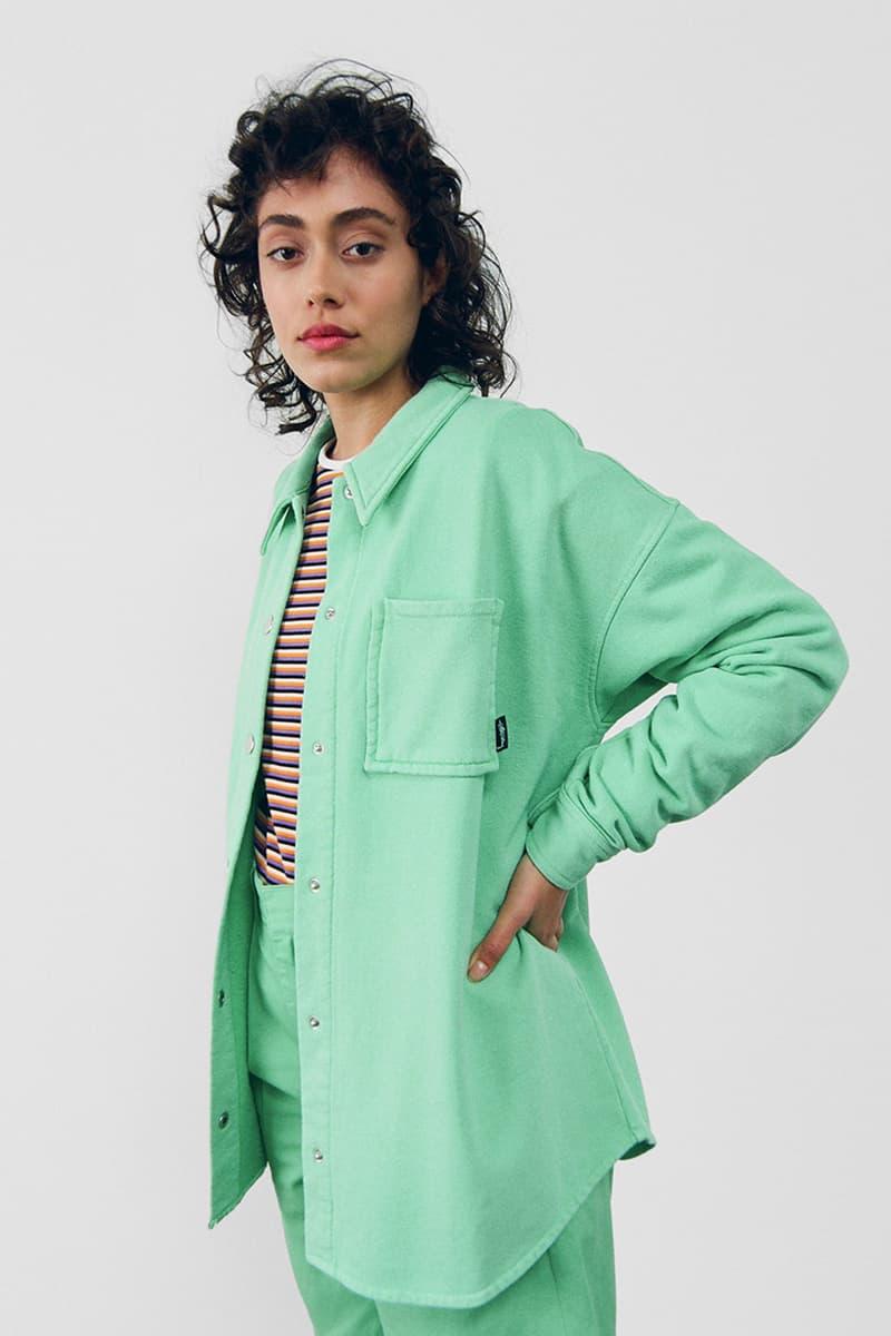 stussy spring 2021 collection lookbook womenswear mint green shirt jacket shacket
