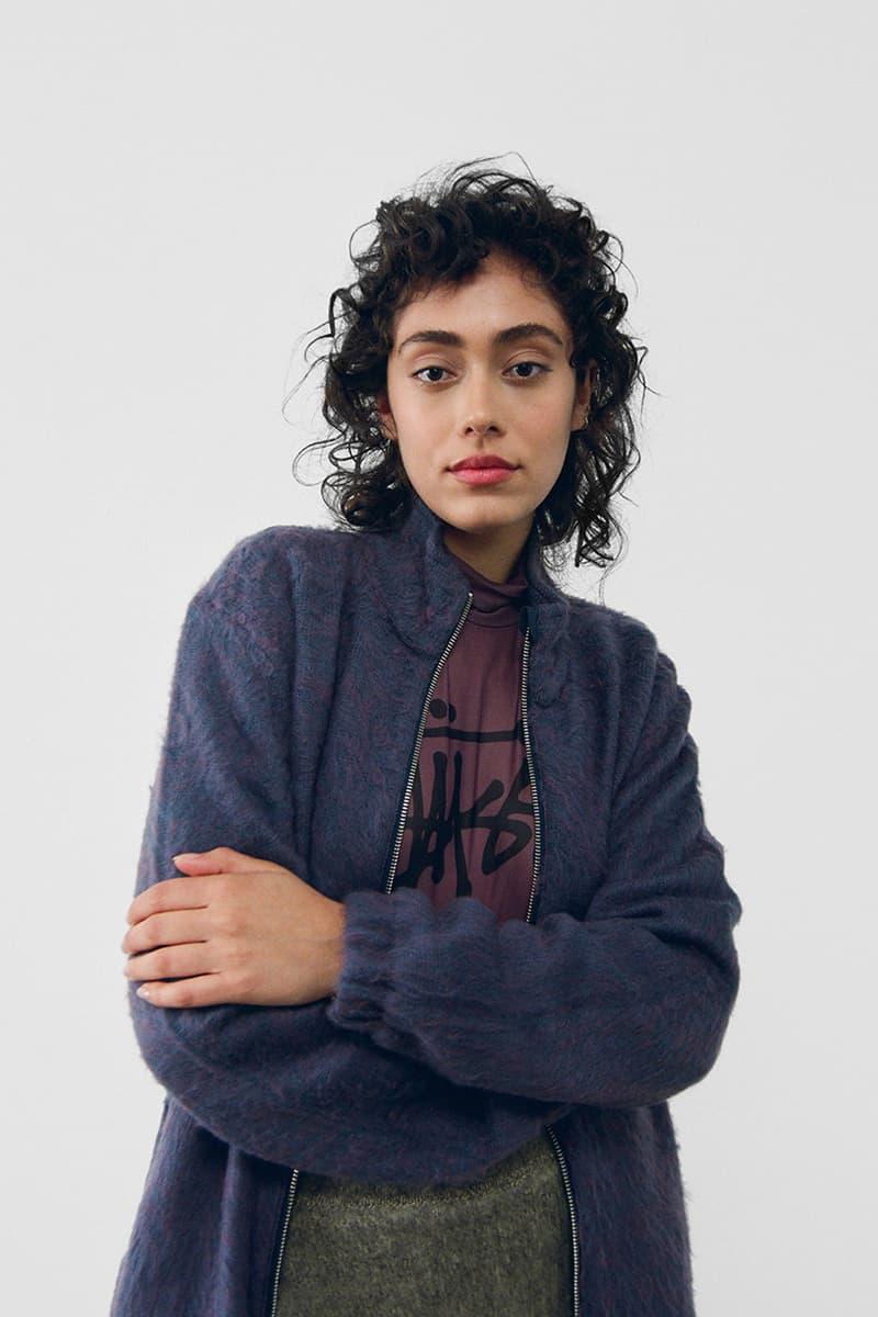 stussy spring 2021 collection lookbook womenswear fleece jacket knitwear logo tshirt