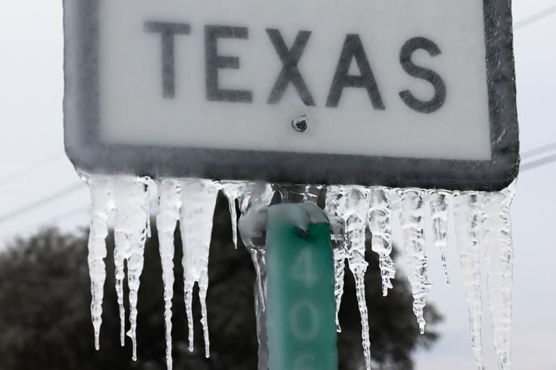 Texas Winter Storm 2021 Icicles Sign