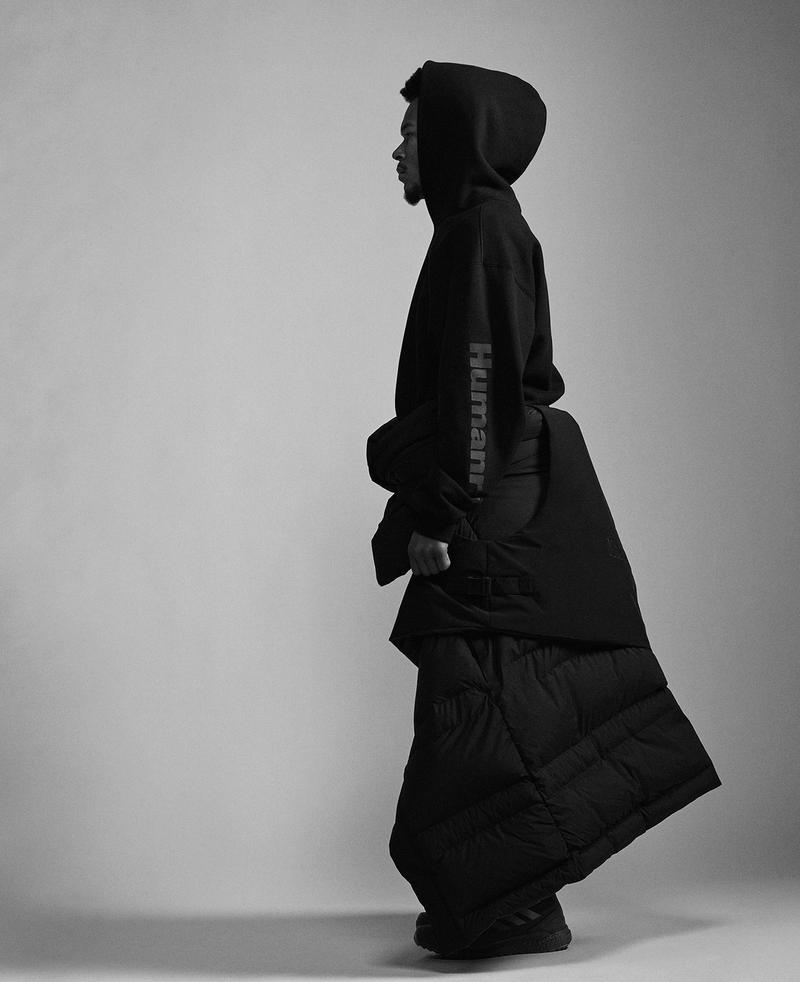 adidas pharrell williams collaboration pw triple black collection my shelter puffer coat