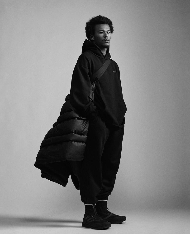 adidas pharrell williams collaboration pw triple black collection my shelter puffer coat jacket