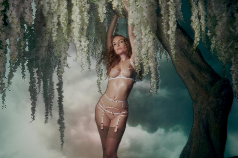 agent provocateur utopia spring summer collection campaign lingerie bra underwear white stockings