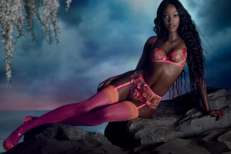 agent provocateur utopia spring summer collection campaign lingerie bra underwear pink stockings