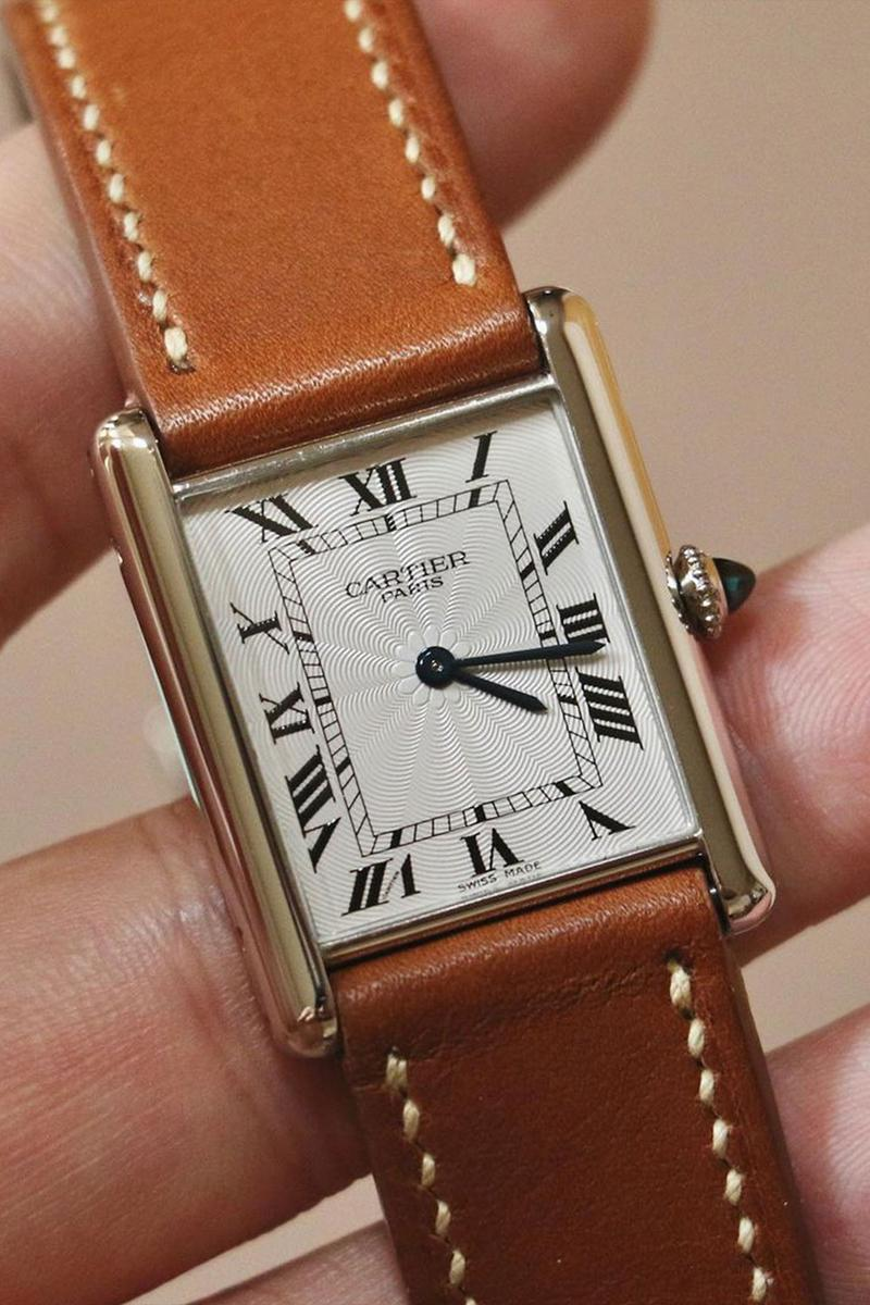 cartier tank luxury watches brown leather strap