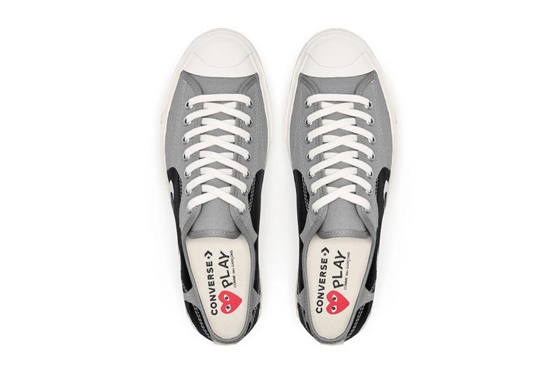 comme des garcons cdg play converse jack purcell sneakers collaboration black gray white footwear sneakerhead shoes kicks top aerial view insoles red