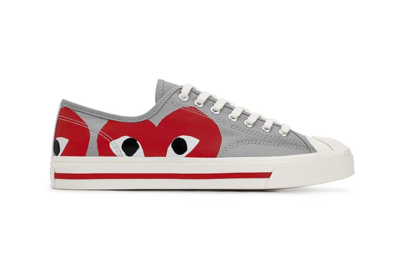comme des garcons cdg play converse jack purcell sneakers collaboration red gray white footwear sneakerhead shoes kicks lateral