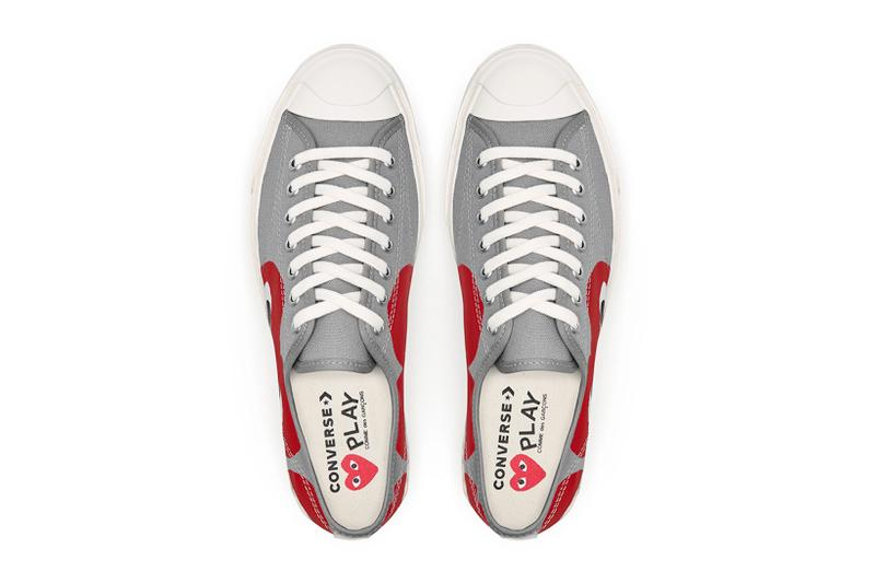 comme des garcons cdg play converse jack purcell sneakers collaboration red gray white footwear sneakerhead shoes kicks top aerial view insoles