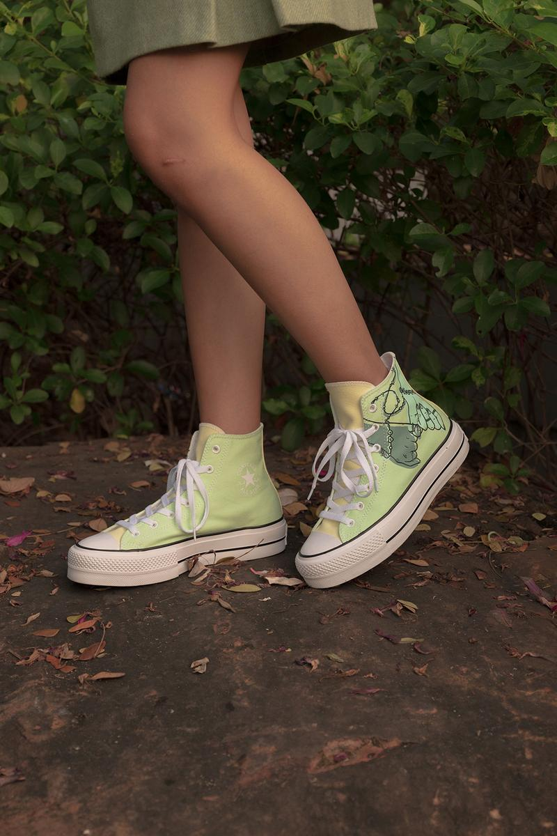 converse by you millie bobby brown pauline wattanodom artist chuck taylor all star high top platform sneakers collaboration green