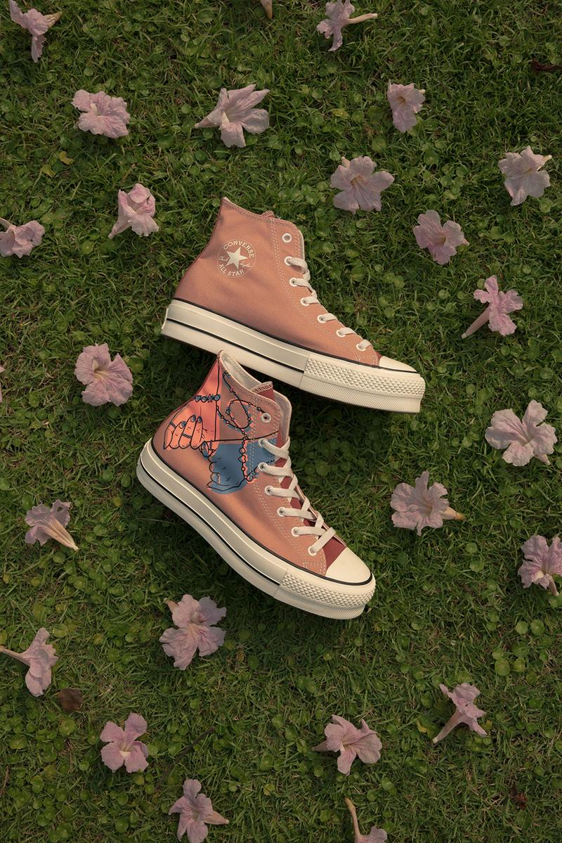 converse by you millie bobby brown pauline wattanodom artist chuck taylor all star high top platform sneakers collaboration pink peach