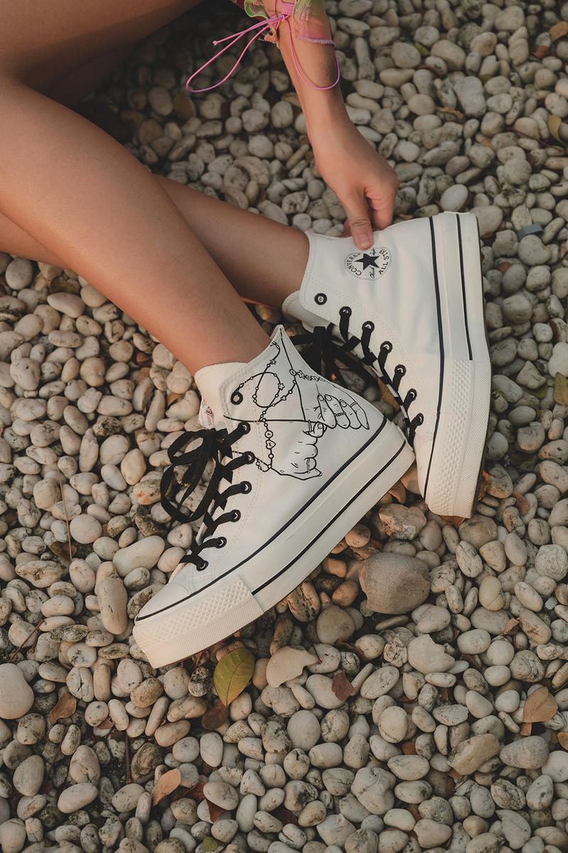converse by you millie bobby brown pauline wattanodom artist chuck taylor all star high top platform sneakers collaboration white