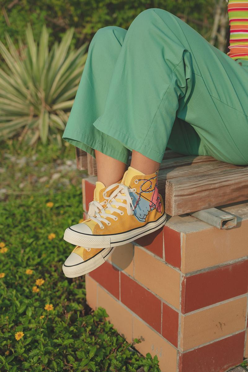 converse by you millie bobby brown pauline wattanodom artist chuck taylor all star high top platform sneakers collaboration orange green pants
