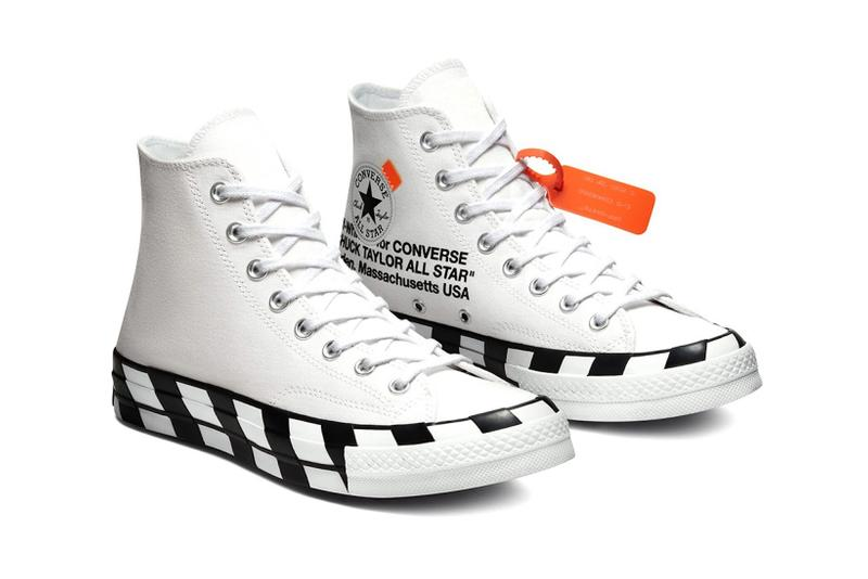 converse off white virgil abloh chuck 70 hi sneakers collaboration white black orange footwear shoes kicks sneakerhead lateral
