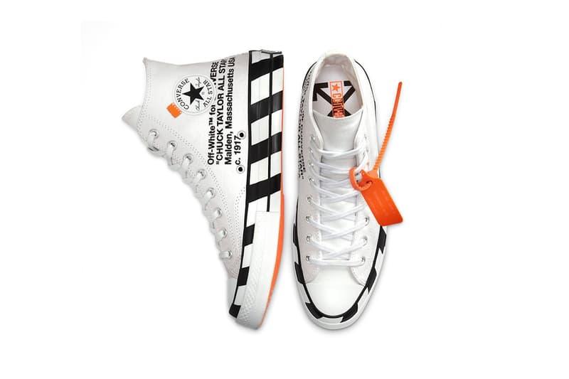 converse off white virgil abloh chuck 70 hi sneakers collaboration white black orange footwear shoes kicks sneakerhead top view aerial insole