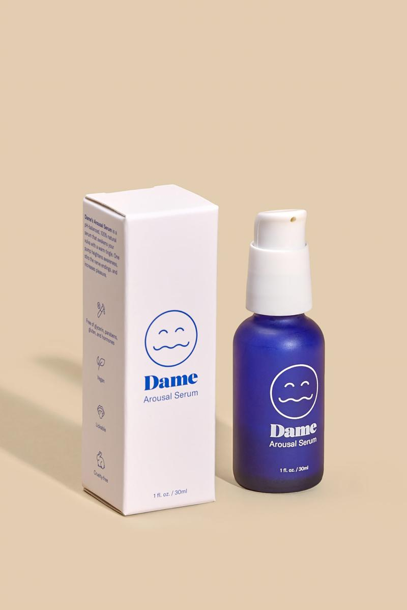 dame products topical arousal cream sex orgasm masturbate blue bottle packaging front box