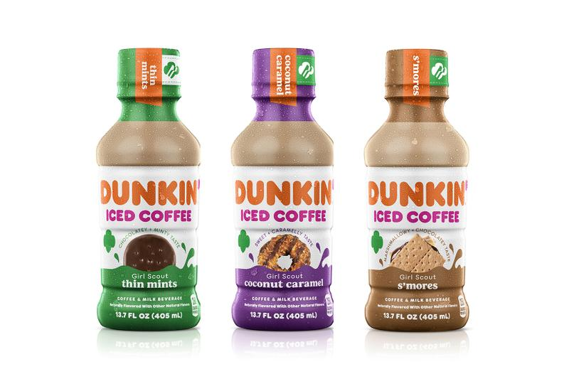 dunkin girl scout cookie iced coffee smores coconut caramel thin mints collaboration