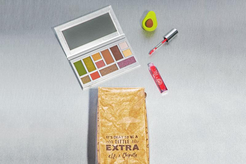 elf cosmetics chipotle collaboration eyeshadow lip gloss makeup sponge bag custom burrito bowl