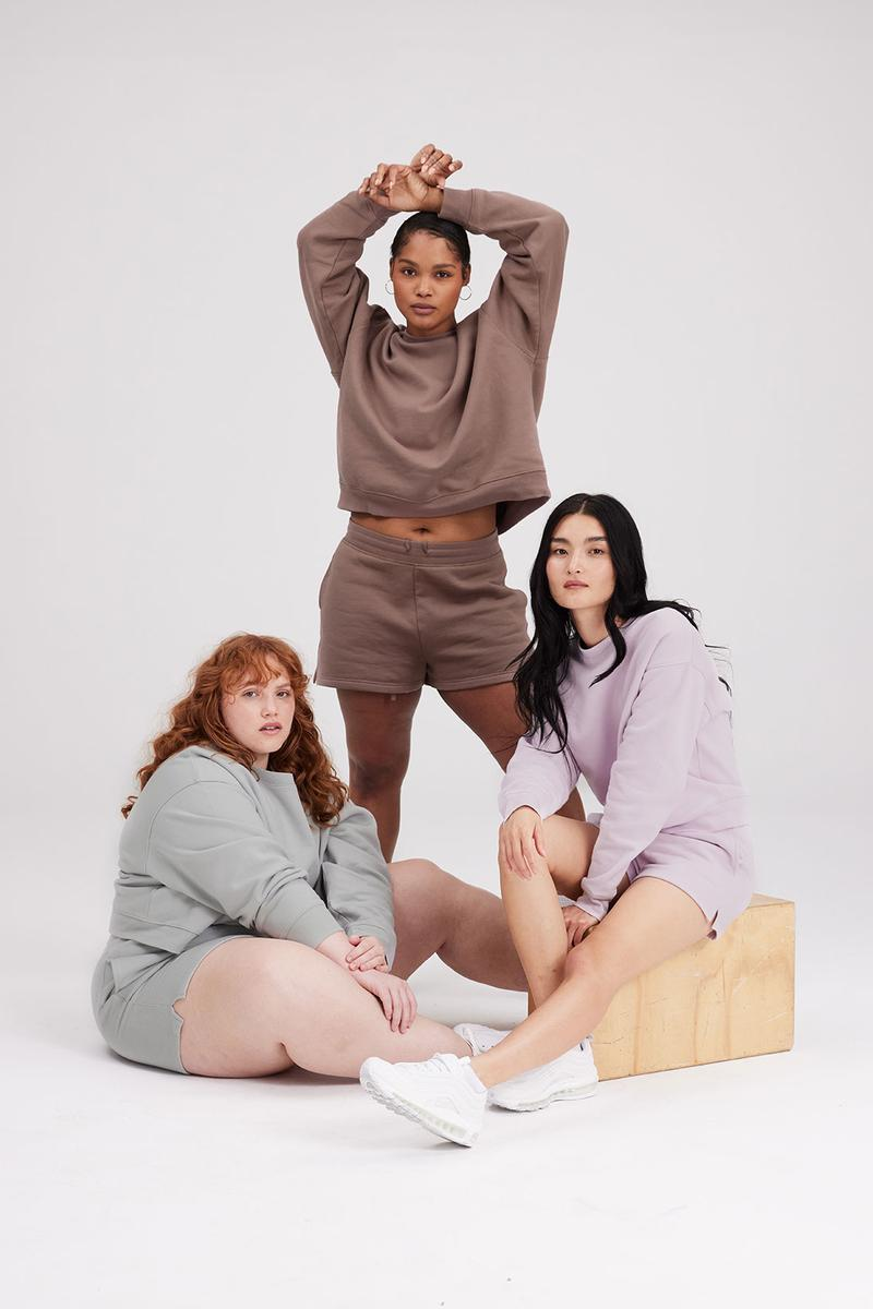 girlfriend collective sweatshirts hoodies shorts joggers brown gray pastel purple
