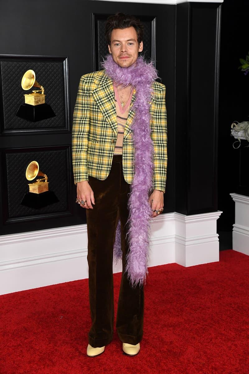 grammy awards 63rd best dressed celebrities red carpet looks harry styles