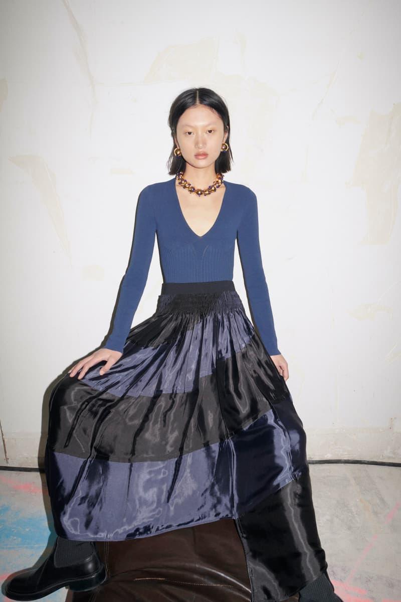 jil sander fall winter womens collection paris fashion week pfw long sleeve top skirt necklace