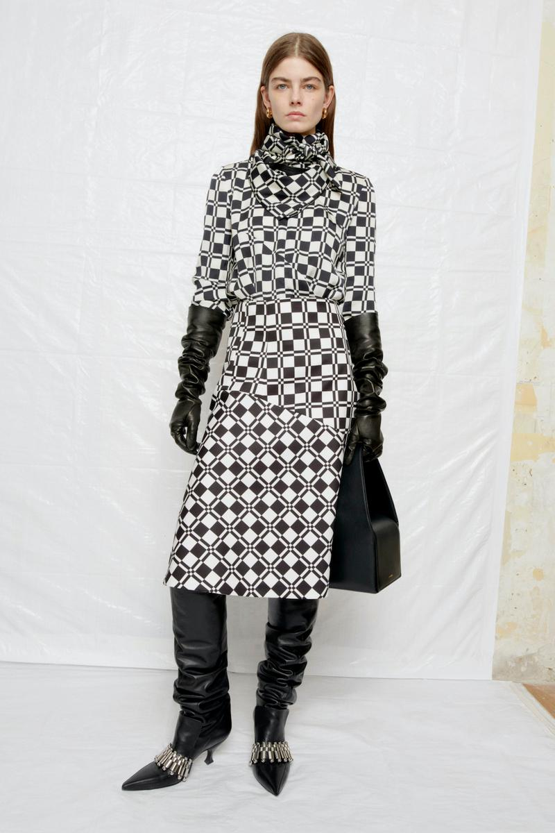 jil sander fall winter womens collection paris fashion week pfw skirt pants gloves handbag