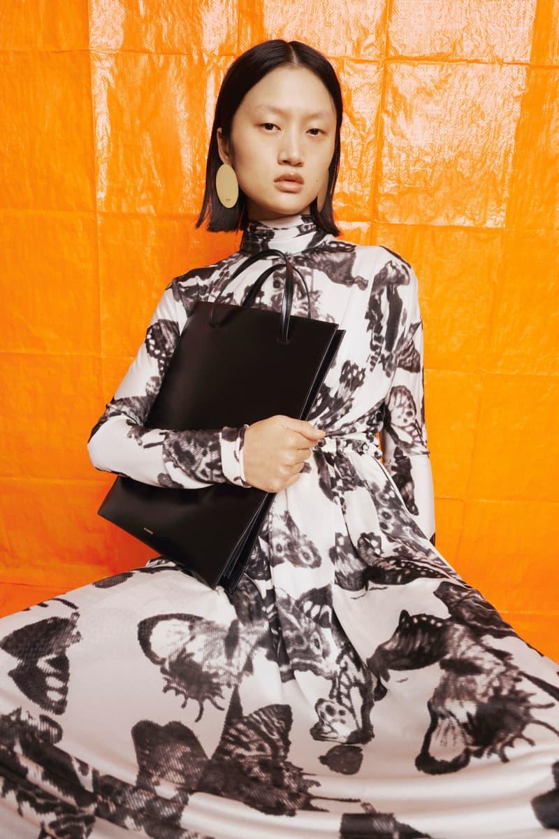 jil sander fall winter womens collection paris fashion week pfw handbag top earrings skirt