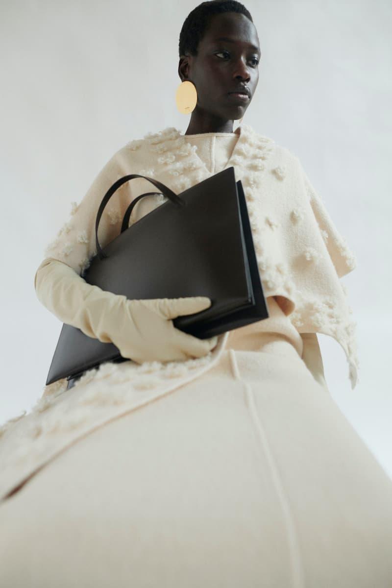 jil sander fall winter womens collection paris fashion week pfw bag gloves top skirt
