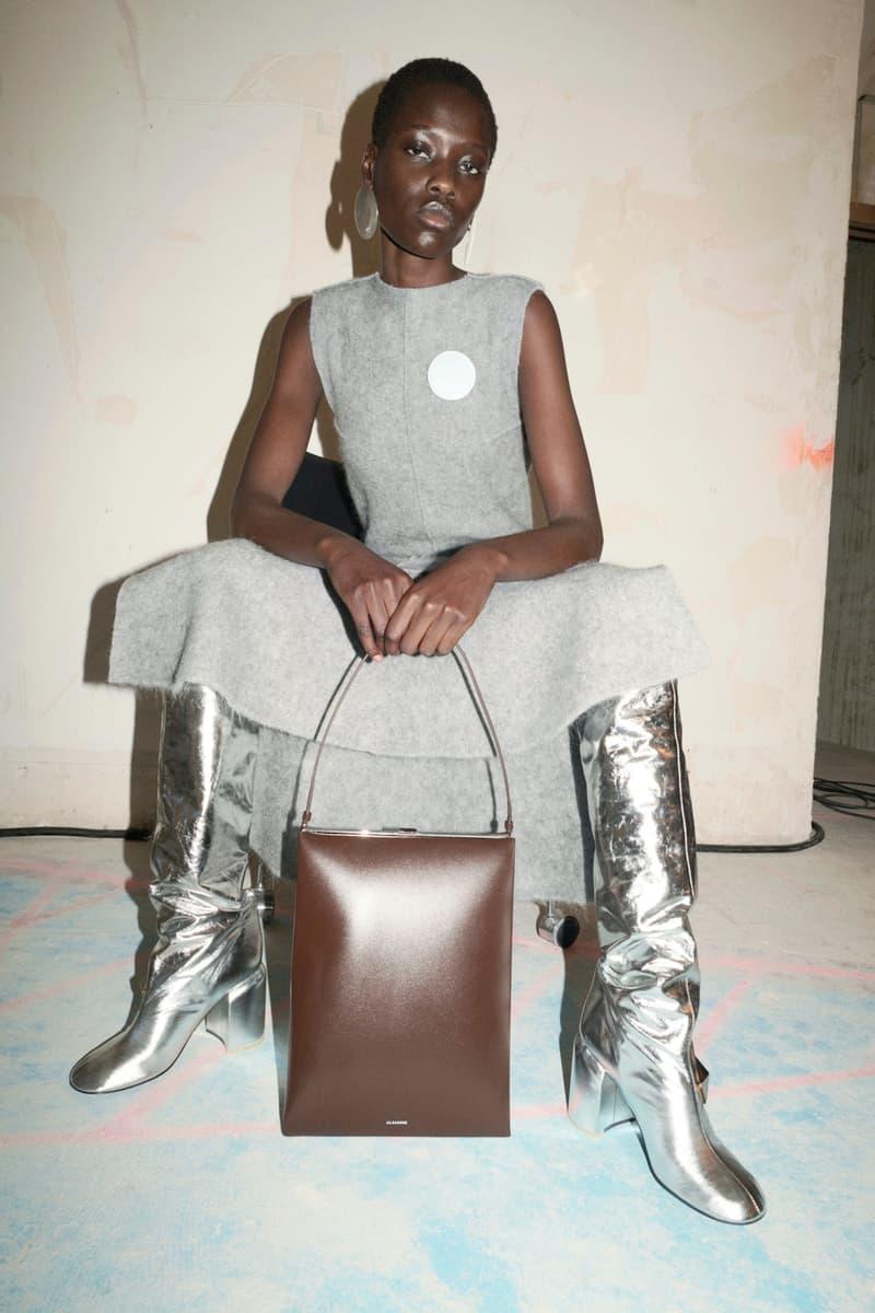jil sander fall winter womens collection paris fashion week pfw tank top skirt boots handbag