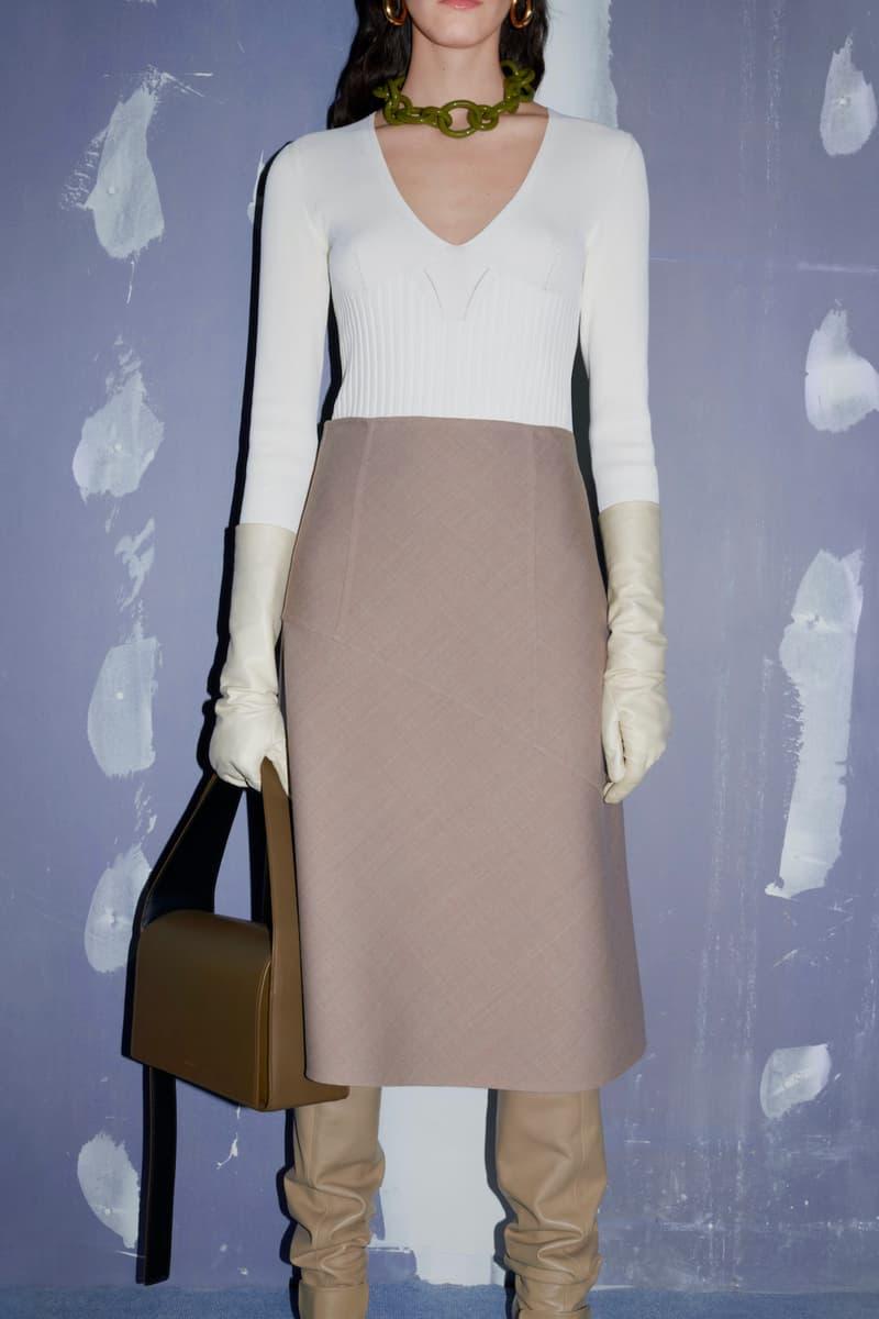 jil sander fall winter womens collection paris fashion week pfw long sleeve top skirt handbag boots