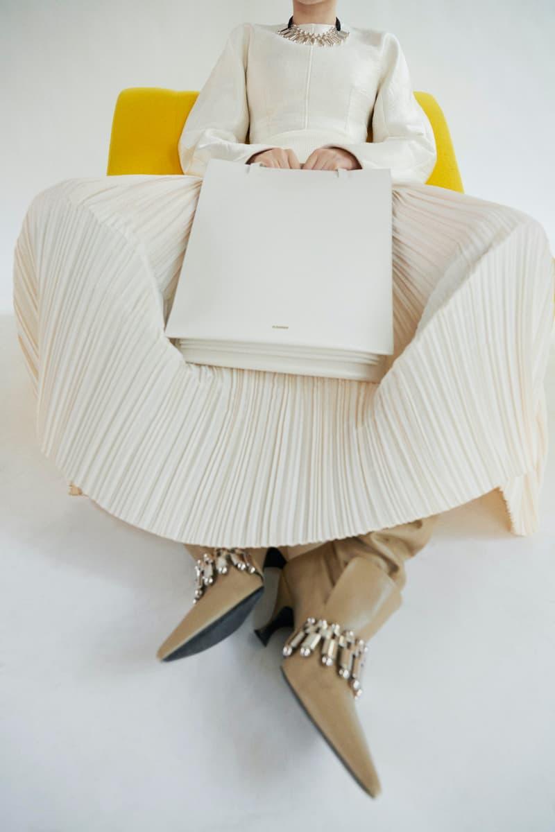 jil sander fall winter womens collection paris fashion week pfw handbag boots skirt long sleeve top
