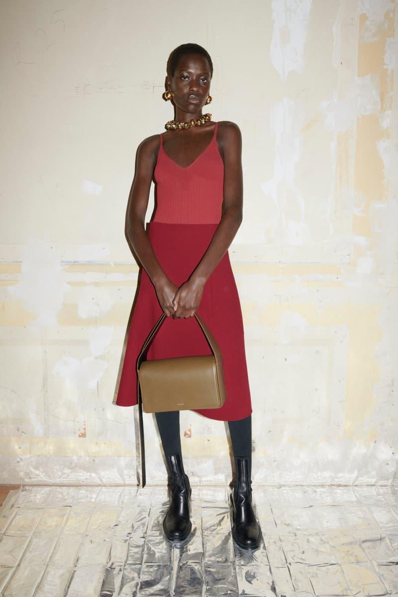 jil sander fall winter womens collection paris fashion week pfw camisole top skirt handbag boots