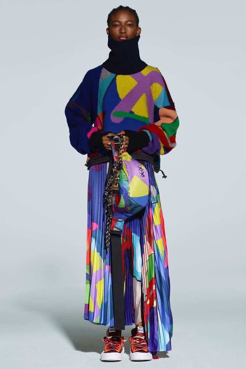 kaws sacai pre-fall collection nike blazer low collaboration sneakers skirt bag