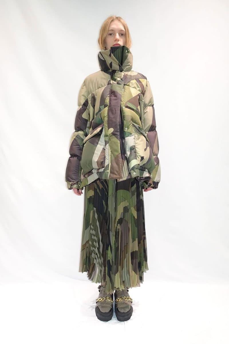 kaws sacai pre-fall collection camouflag puffer skirt