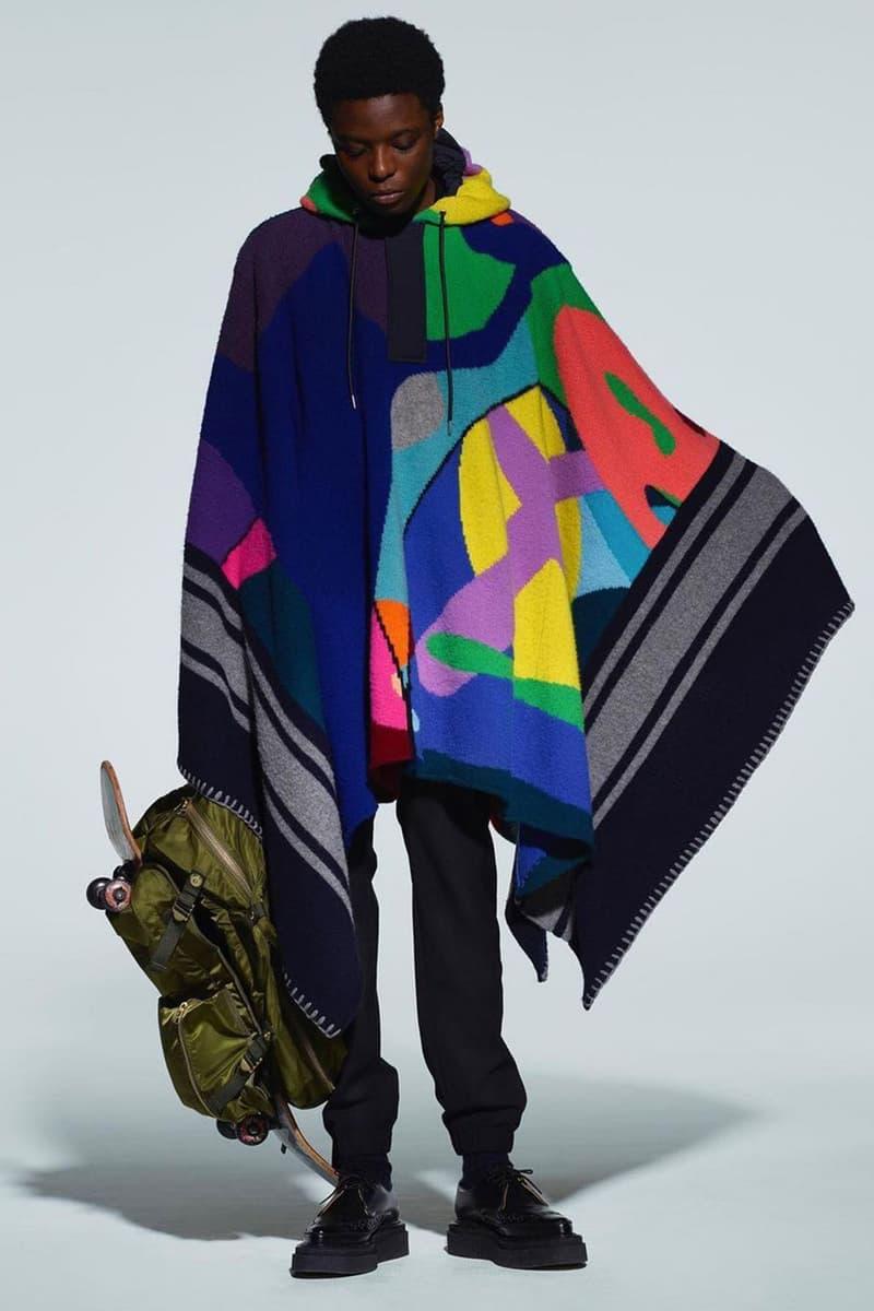 kaws sacai pre-fall collection collaboration shawl backpack