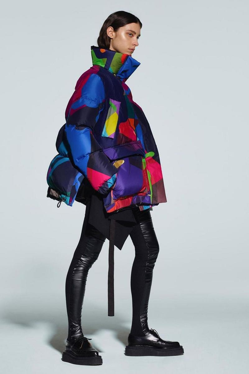 kaws sacai pre-fall collection collaboration puffer jacket
