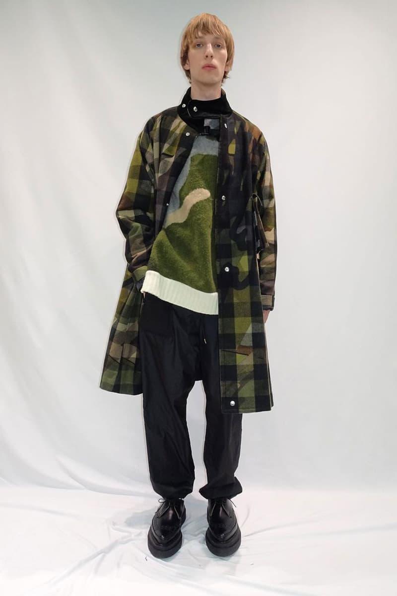 kaws sacai pre-fall collection collaboration plaid coat camo sweater knitwear