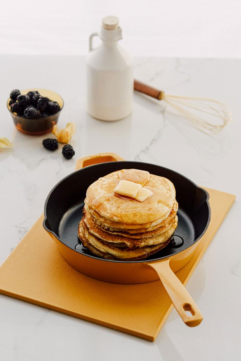 milo cookware kitchen cast iron pants pots new colorways yellow pancakes syrup blueberries