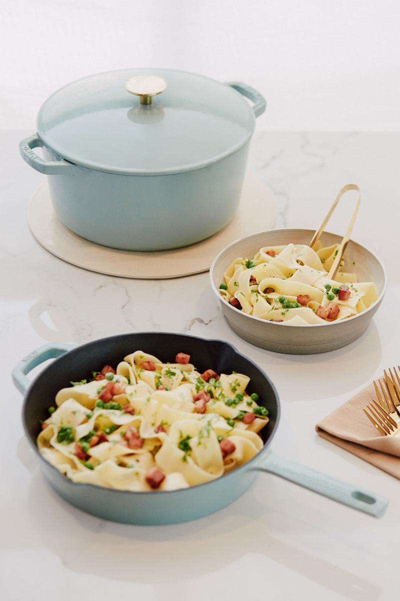 milo cookware kitchen cast iron pants pots new colorways pastel blue pasta