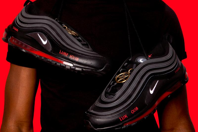mschf lil nas x nike air max 97 am97 satan shoes sneakers human blood ink details close up