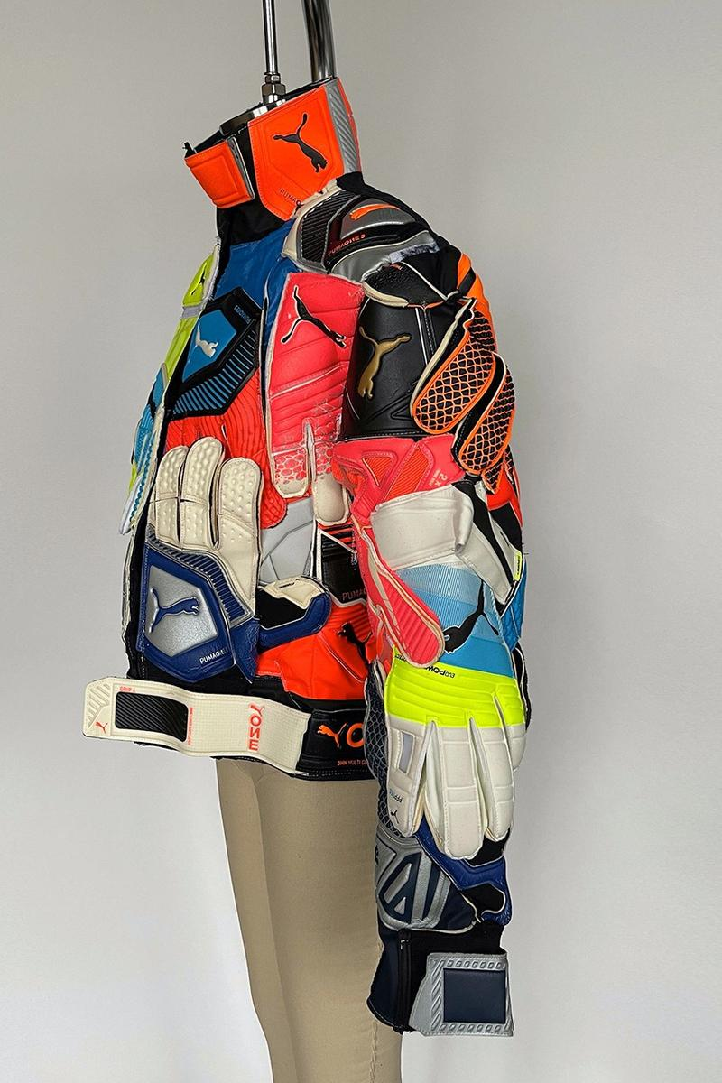 nicole mclaughlin puma collaboration partnership upcycled puma goalkeeper gloves jacket side details sleeves