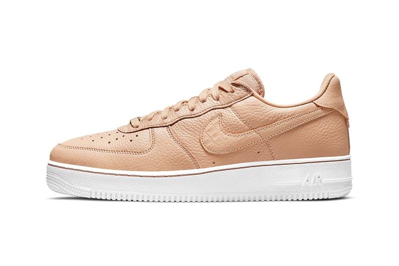 nike air force 1 af1 craft bucket tan beige leather white lateral swoosh details
